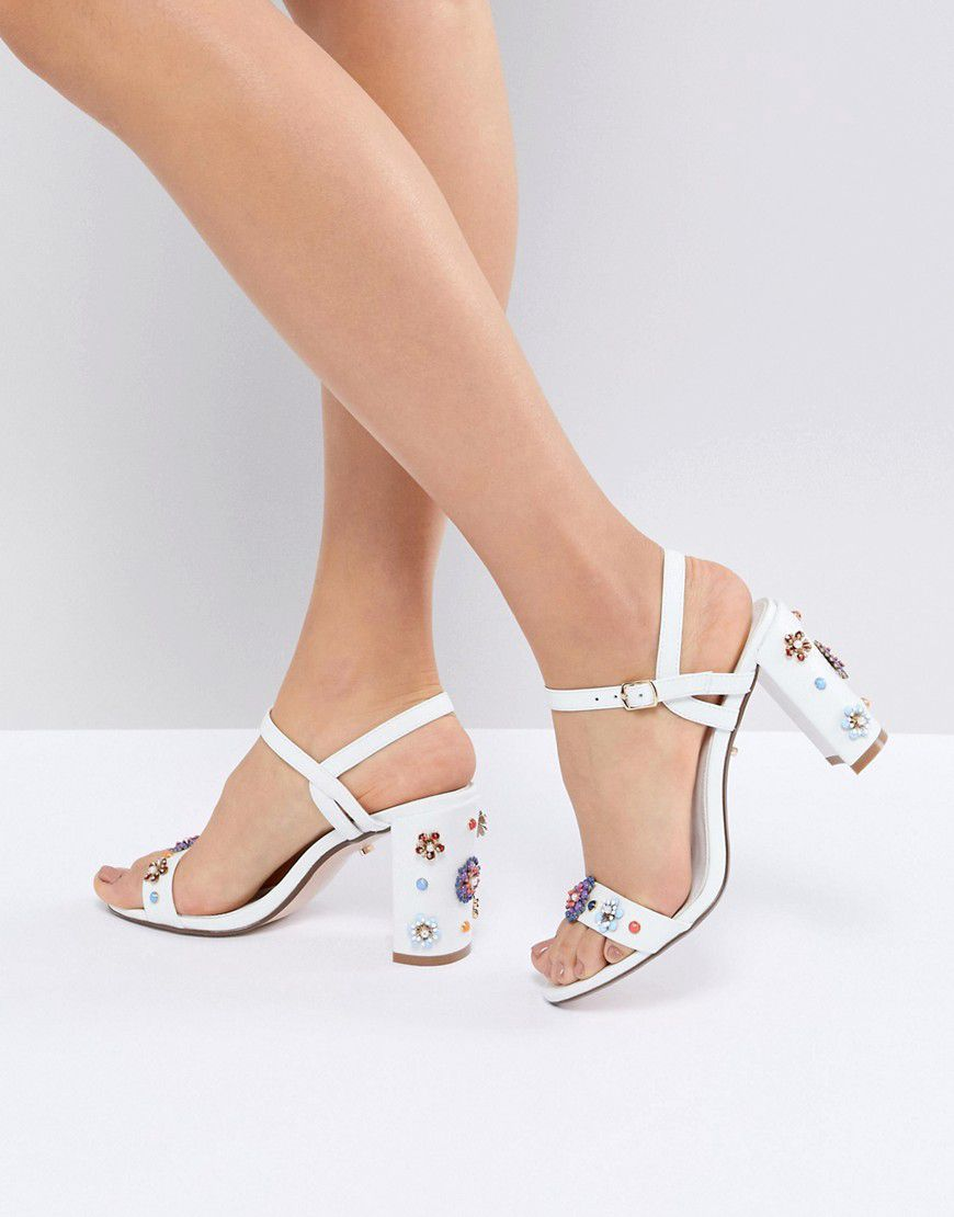 9dce0a10f Dune Summer Leather Embellished Floral Going Out Heeled Shoes - Asos ...