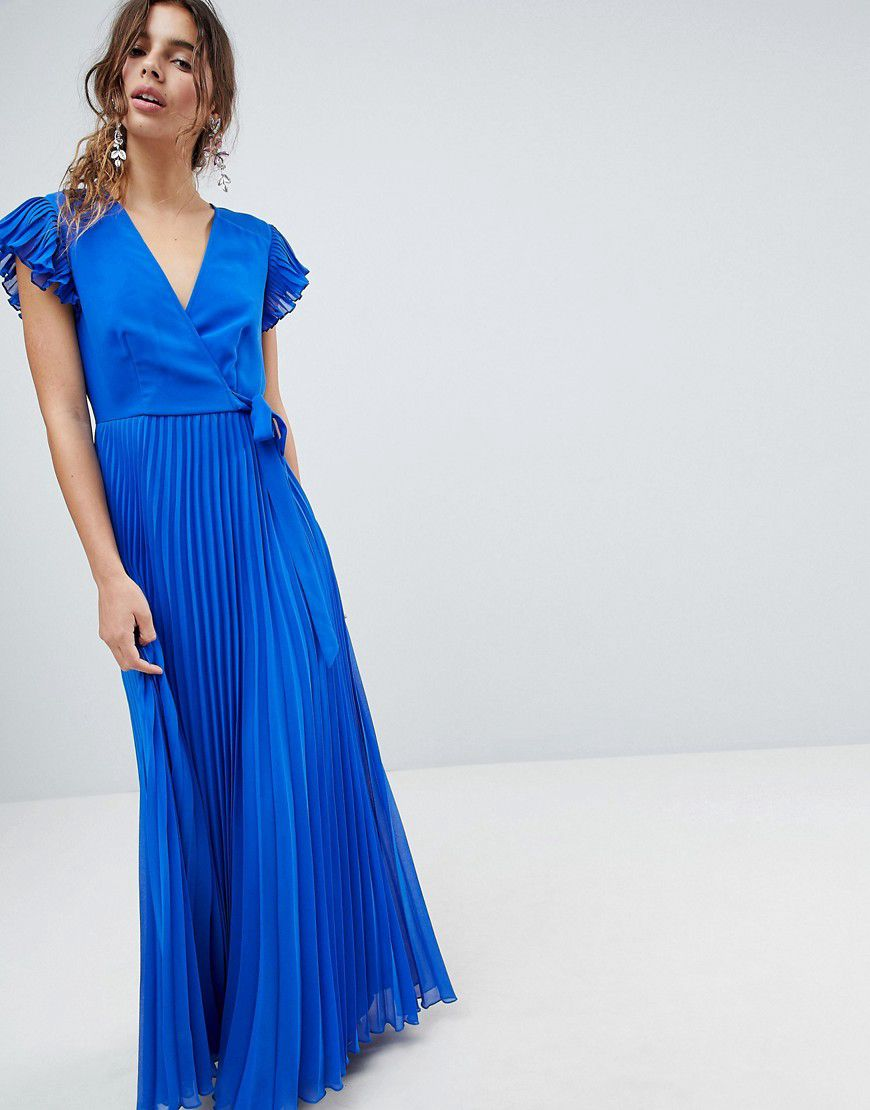 ba119b28b6 Asos Design Vintage Floral Pleated Maxi Dress With Flutter Sleeve