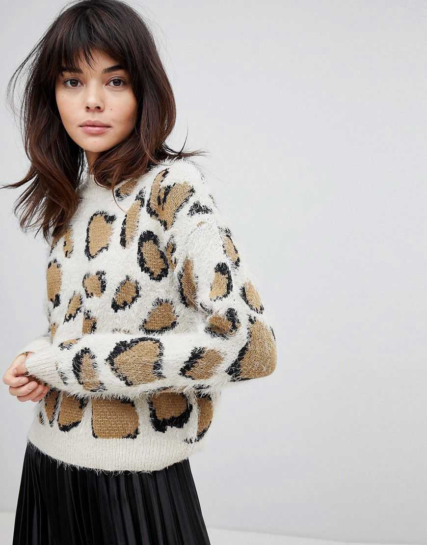 60b5953f836e0e Willow And Paige High Neck Fluffy Jumper In Oversized Leopard Print - Asos