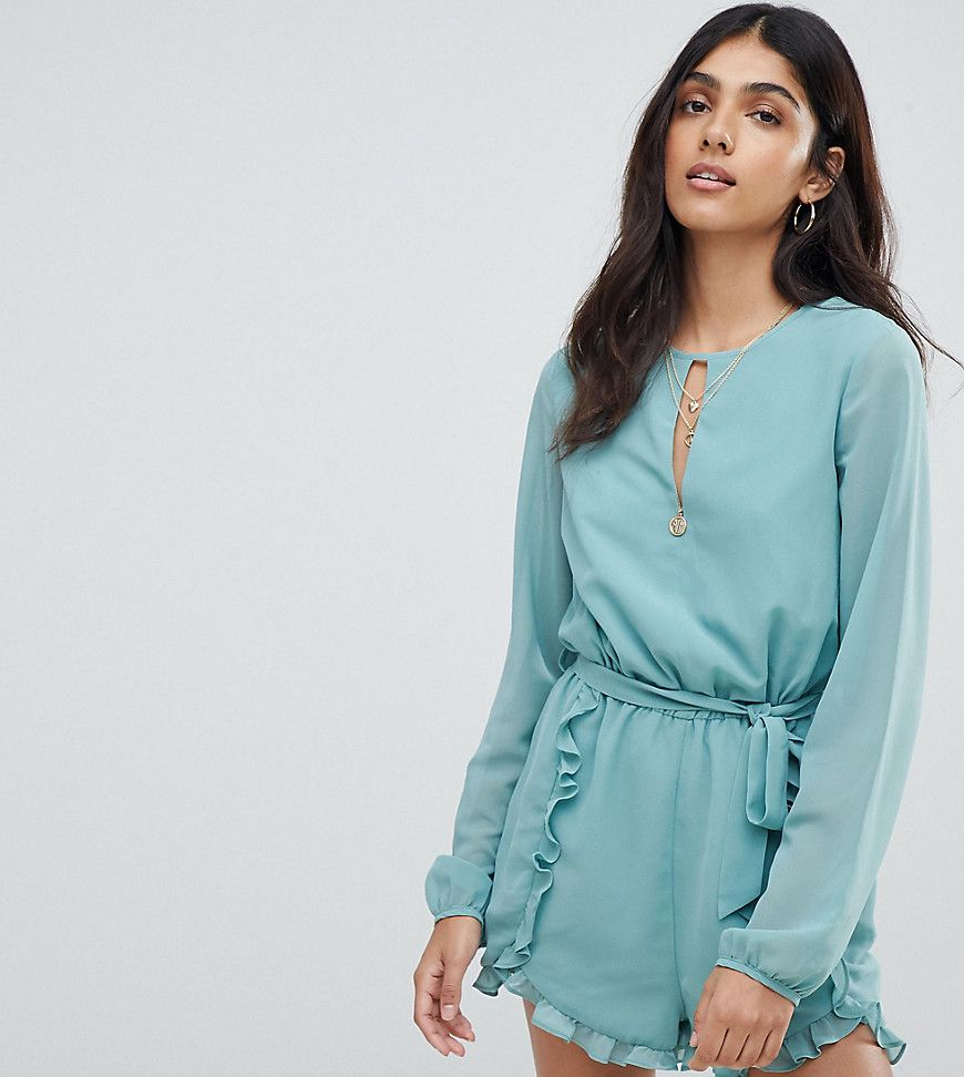 9a3508abe7 Glamorous Tall Playsuit With Frill Shorts And Tie Waist - Asos