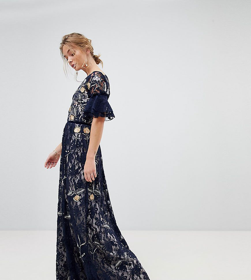 32825226706 Frock And Frill Allover Floral Embroidered Lace Maxi Dress With Flutter  Sleeve - Asos