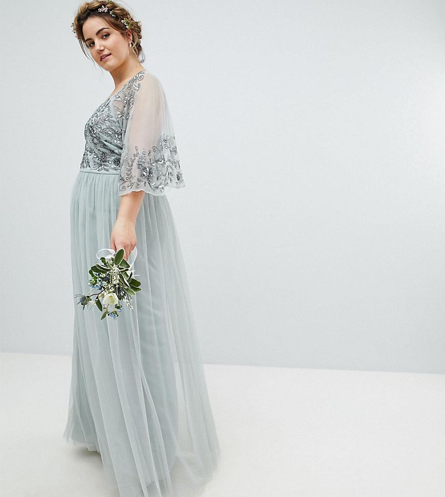 d1dca2568e Maya Long Sleeve Maxi Dress With Delicate Sequin And Tulle Skirt
