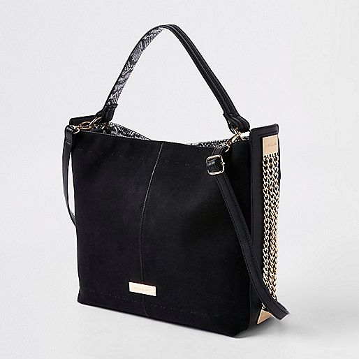ebf349ee40 Black Chain Side Slouch Bag - River Island