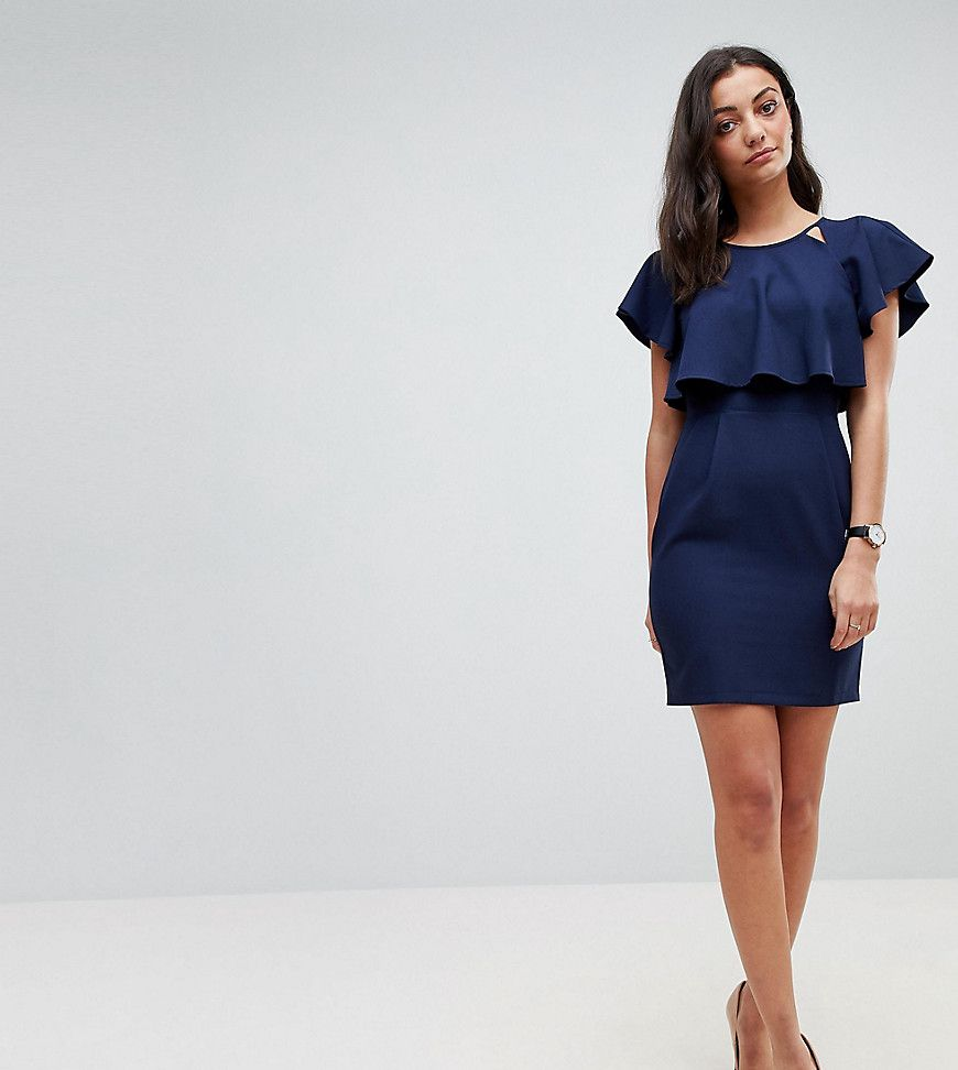 cc68c3eb69a Asos Tall Double Layer Mini Wiggle Dress With Angel Sleeve - Asos