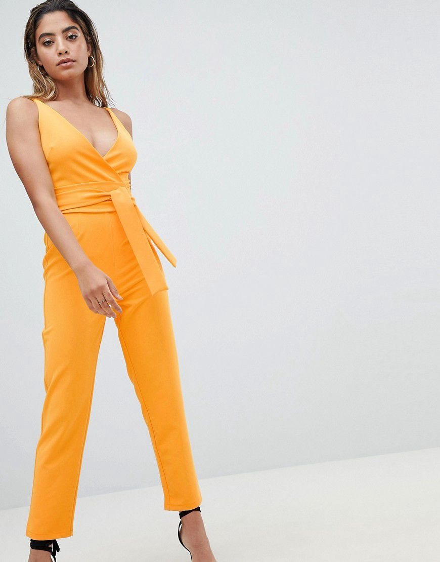 27706da5ac3 Asos Design Wrap Front Jumpsuit With Peg Leg And Self Belt - Asos