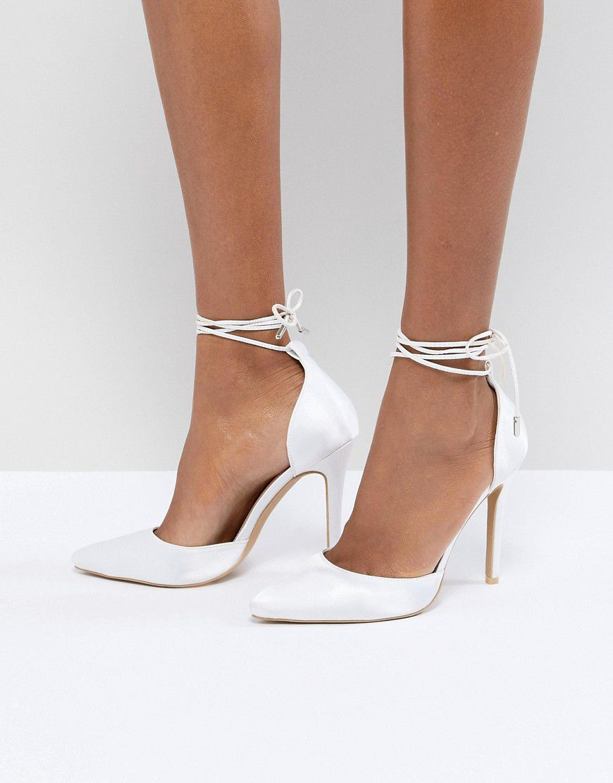94becf19cee8 Be Mine Bridal Leila Ivory Satin Ankle Tie Court Shoes - Asos