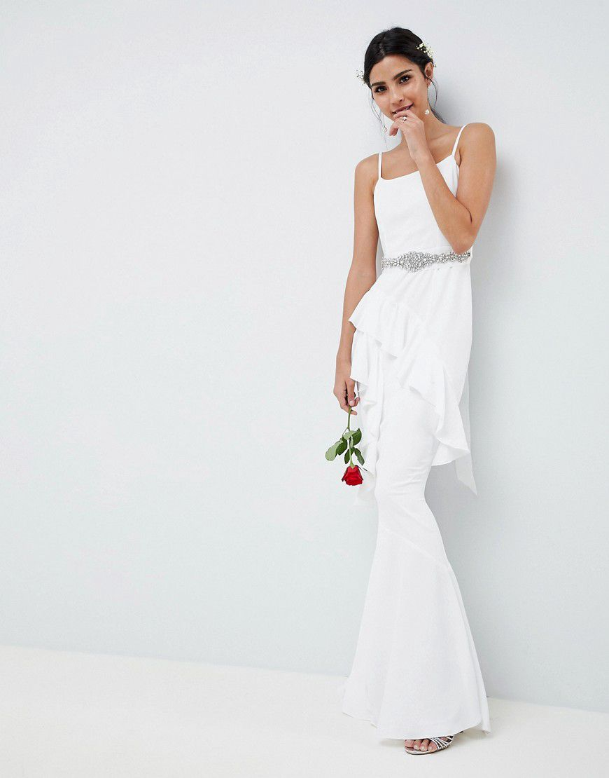 9c418b1415 Asos Edition Ruffle Maxi Wedding Dress With Embellished Belt - Asos ...