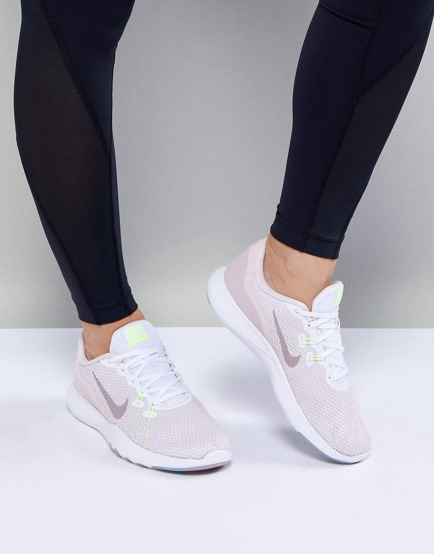 big sale 470a0 4473c Nike Training Flex Trainer 7 In White And Pink - Asos   reve