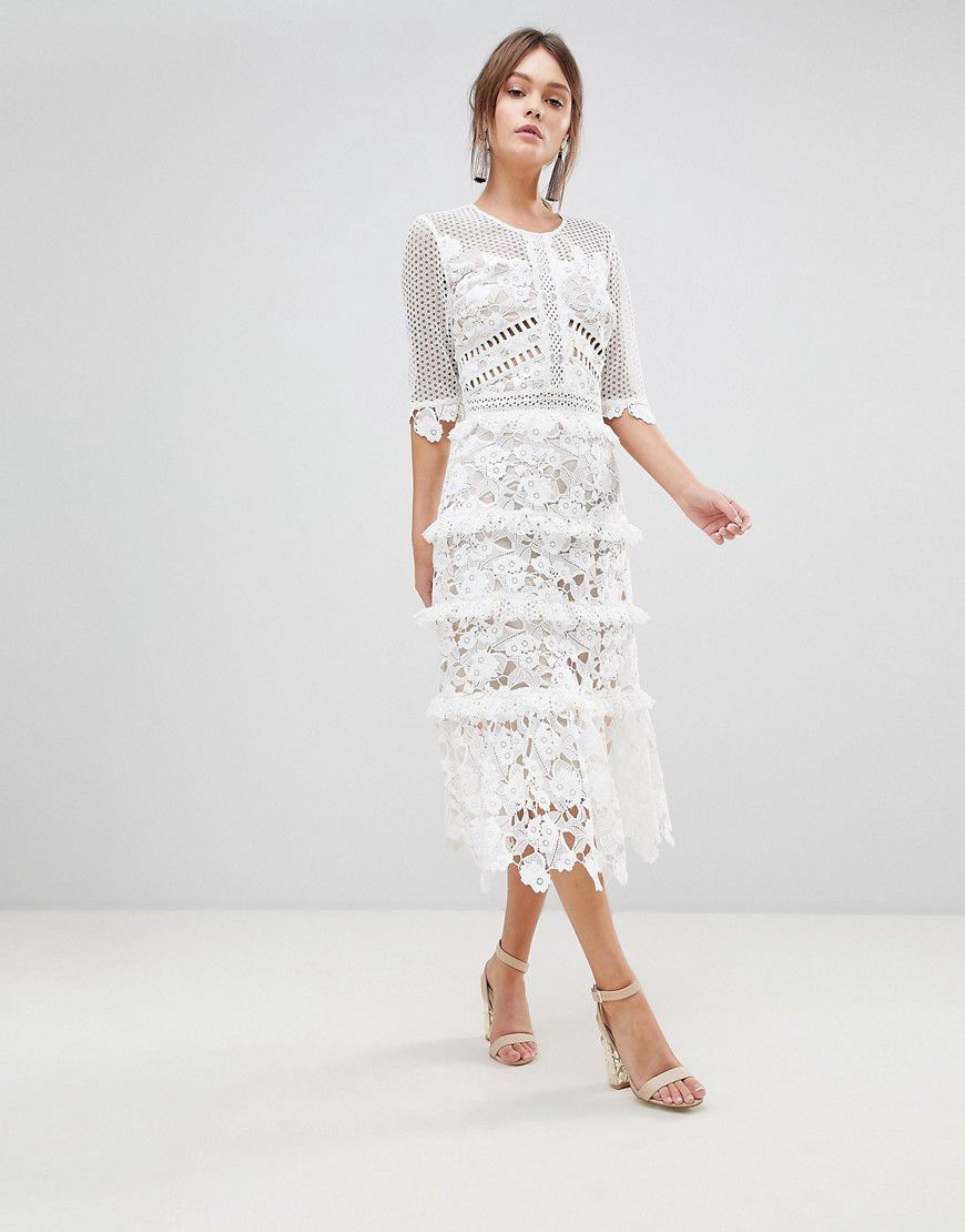 9d6a49de271 True Decadence Premium All Over Cutwork Lace Contrast Midi Dress With Frill  Sleeve Detail - Asos