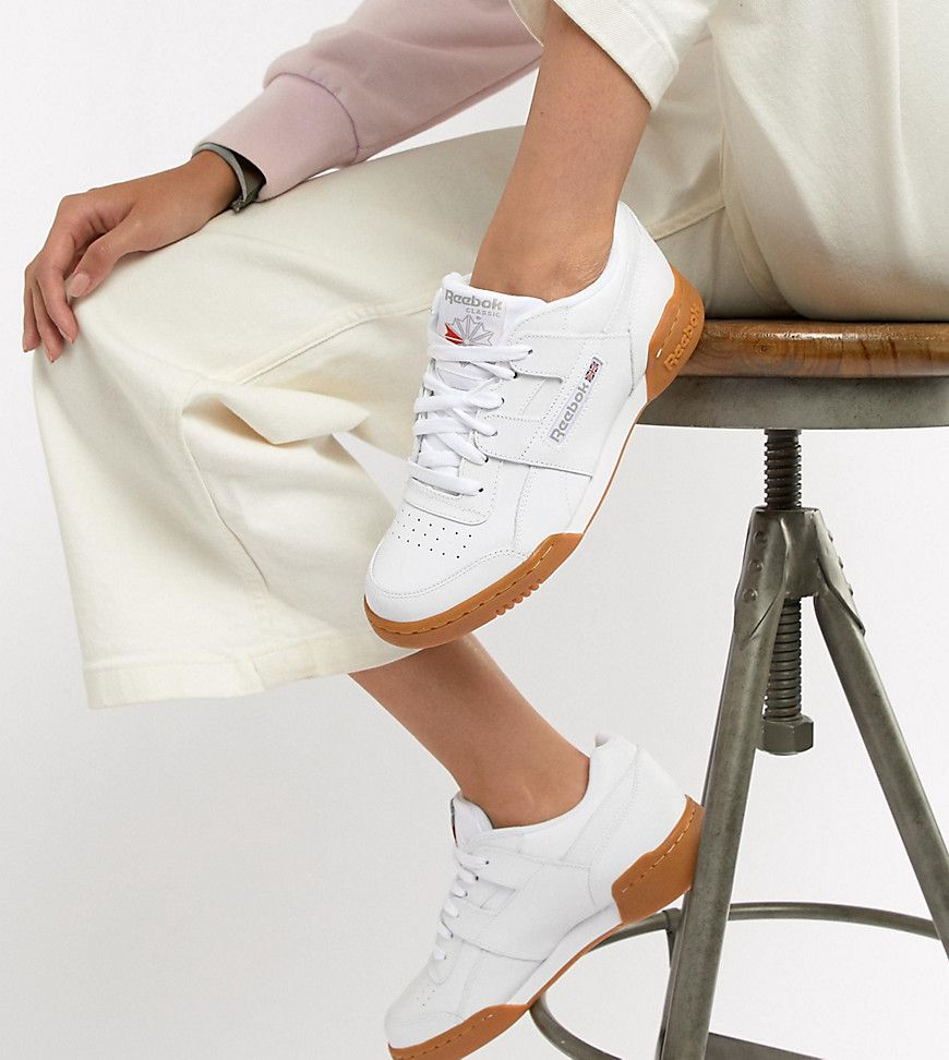 c0d078a465f Reebok Workout Plus White Trainers With Gum Sole - Asos