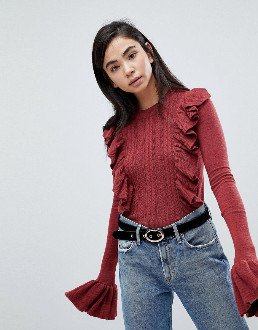 6aac0d07afe3f7 Fashion Union Jumper With Frill Sleeve And Ruffle Front - Asos
