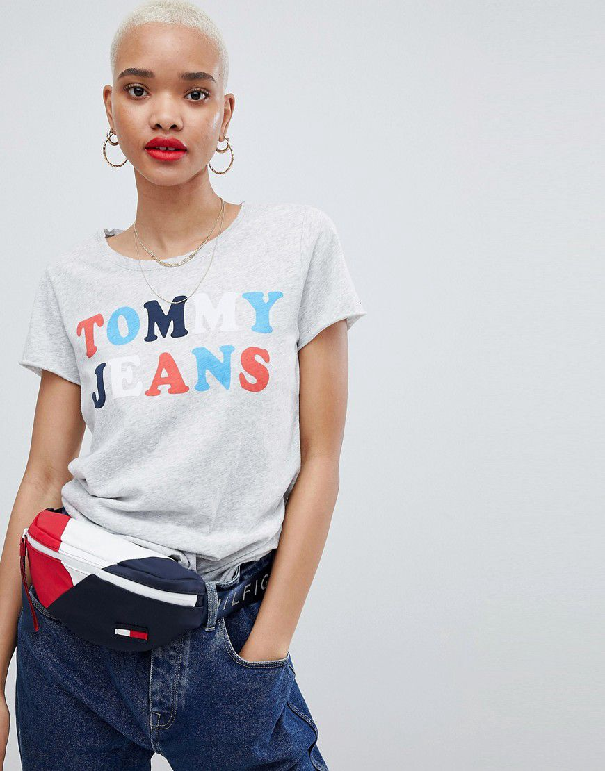 e66526ad Tommy Jeans 90s Capsule 5.0 Long Sleeve T Shirt With Logo Sleeve