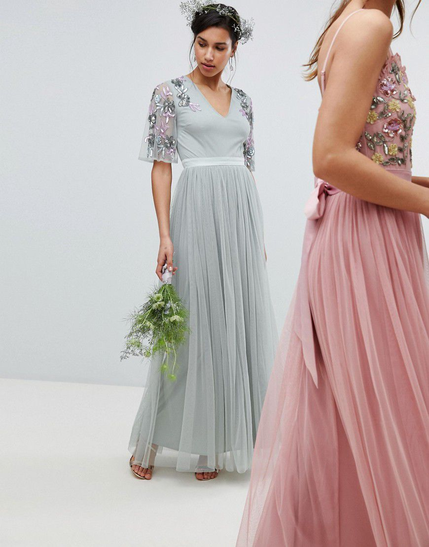 c0ef8b459cd Maya Embellished Tulle Sleeve Maxi Tulle Dress In Green - Asos