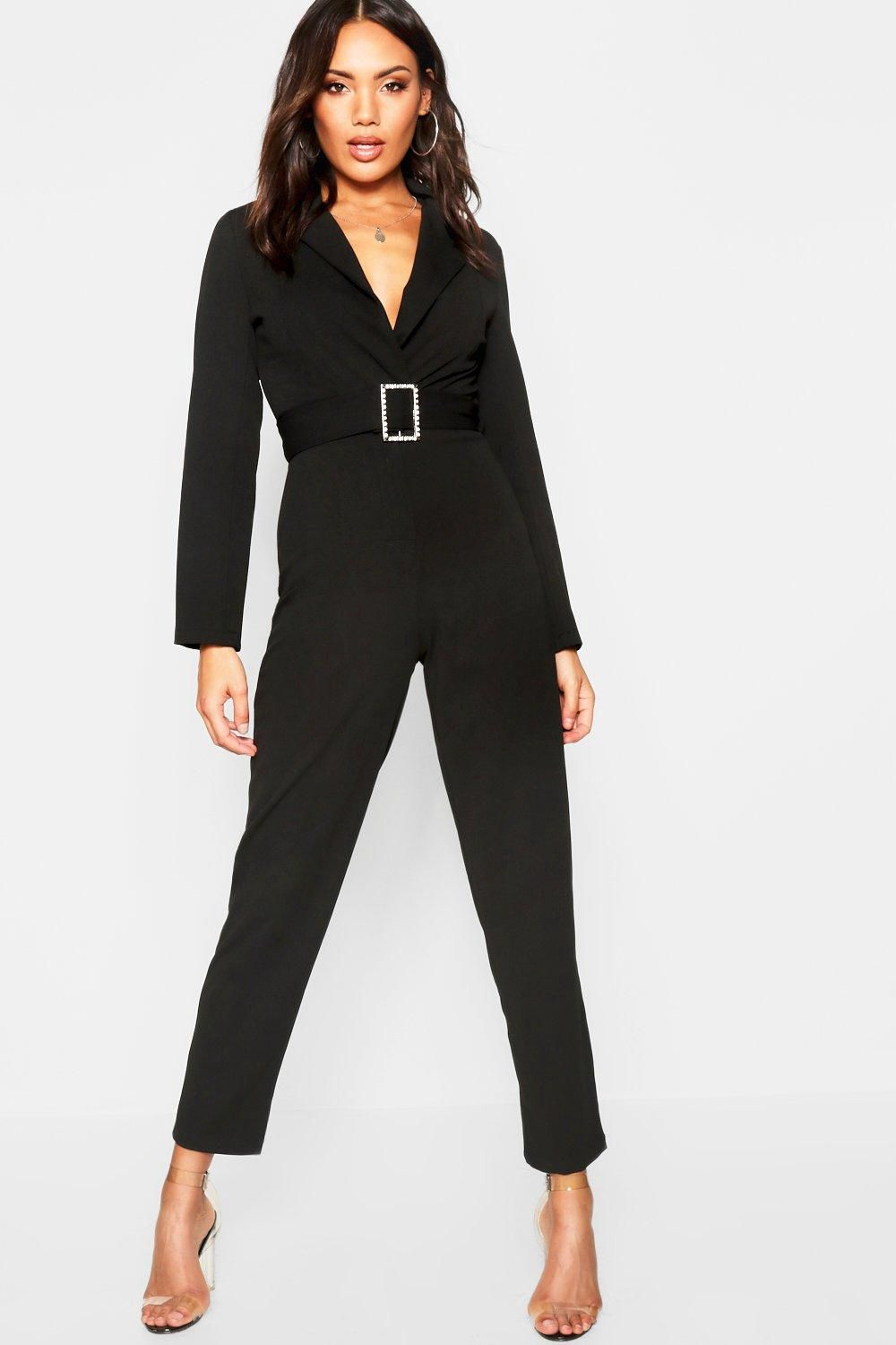 c8cd223a5d0d Diamante Buckle Belted Jumpsuit - Boohoo