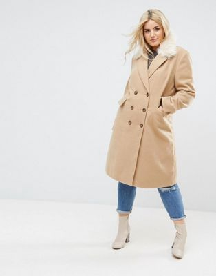 be135e7121453 Brave Soul Plus Ashwich Double Breasted Coat With Faux Fur Collar - Asos